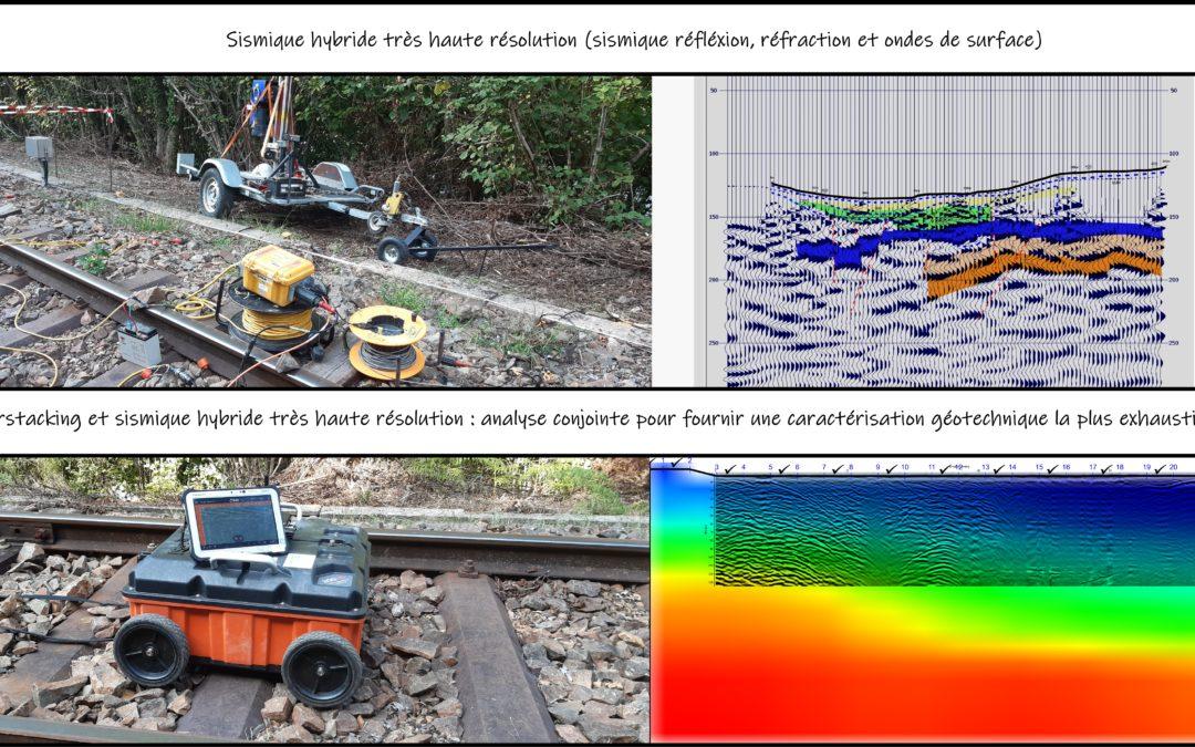 Application de sismique hybride (THR, Sismique réfraction, MASW) et Géoradar Hyperstacking pour un projet SNCF dans la Sarthe.